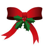 Red Bow with Holly Leaves Christmas Background Royalty Free Stock Photos