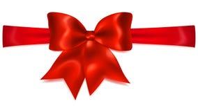 Red bow with horizontal ribbon Royalty Free Stock Photo