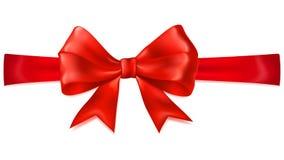 Red bow with horizontal ribbon Royalty Free Stock Photos