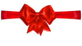 Red bow with horizontal ribbon Royalty Free Stock Photography
