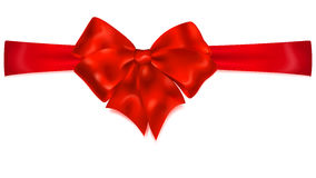 Red bow with horizontal ribbon Royalty Free Stock Images