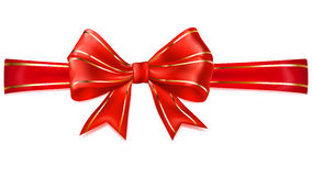 Red bow with horizontal ribbon with golden strips Stock Photography