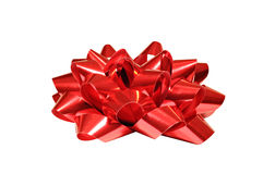 Red bow isolated on white background. For Christmas, birthday anniversary or Valentine presents Stock Images