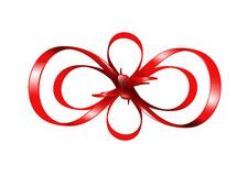 Red bow isolated on white background Royalty Free Stock Photo