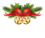 Red bow with jingle bells and Fir branches Christmas icon of jingle bells with red bow. Vector illustration isolated on white background Royalty Free Stock Images