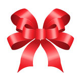 Red bow made of satin. Stock Image