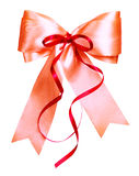 Red bow made from silk Royalty Free Stock Photography