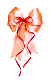 Red bow made from silk Stock Image