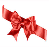 Red bow made from silk ribbon Stock Photos
