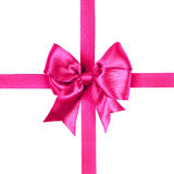 Red bow made from silk ribbon Royalty Free Stock Photos