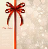 Red bow on a magical Christmas background. Vector Royalty Free Stock Image
