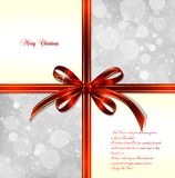 Red bow on a magical Christmas background. Vector Stock Image