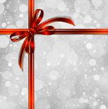 Red bow on a magical Christmas background. Vector. Big red bow on a magical Christmas letter. eps10 Stock Photo