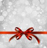 Red bow on a magical Christmas background. Vector. Big red bow on a magical Christmas letter Royalty Free Stock Photos