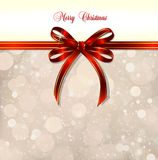 Red bow on a magical Christmas background. Vector. Big red bow on a magical Christmas letter Stock Image