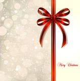 Red bow on a magical Christmas card. Vector Royalty Free Stock Images