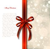 Red bow on a magical Christmas card. Vector. Big red bow on a magical Christmas letter Royalty Free Stock Images