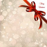Red bow on a magical Christmas over. Vector Royalty Free Stock Images