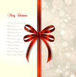 Red bow on a magical Christmas over. Vector Stock Images