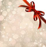 Red bow on a magical Christmas over. Vector. Big red bow on a magical Christmas letter Stock Photography