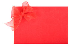 Red Bow On Paper Stock Photo
