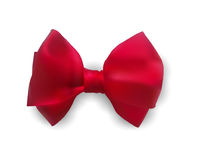 Red bow out of satin ribbon vector illustration. Bowknot with shadow for gift. Royalty Free Stock Photography