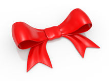 Red bow over white Stock Images