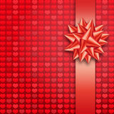 Red bow paper hearts  Royalty Free Stock Images