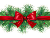 Red bow with pine border Stock Image