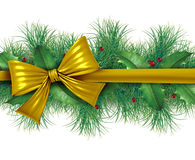 Red bow with pine border. Red silk bow with pine border ornamental holiday decoration for Christmas festive winter celebration on a white background Royalty Free Stock Photos