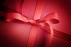 Red bow on present Royalty Free Stock Photo