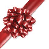 Red bow with red ribbon Stock Photo