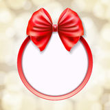 Red bow on red round frame stock illustration