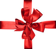 Red Bow & Ribbon. Gift red ribbon and bow isolated on white. The file includes clipping path Stock Photos