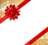 Red Bow and Ribbon with Abstract Lights Royalty Free Stock Photo