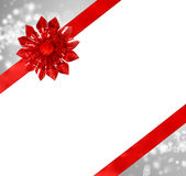 Red Bow and Ribbon with Abstract Lights Royalty Free Stock Images