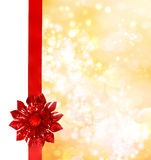 Red Bow and Ribbon with Bokeh Lights Royalty Free Stock Image