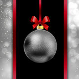 Red bow and ribbon on a festive background bokeh. Silver Christmas ball hanging on a ribbon on bokeh background, vector art illustration New Year Royalty Free Stock Photography