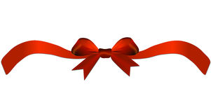 Red bow with ribbon on the gift or heart Stock Photos