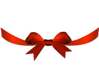Red bow with ribbon on the gift or heart. Valentine red bow on the gift or heart Stock Photography