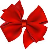 Red Bow & Ribbon Gift. Isolated On White Stock Image