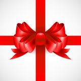 Red bow on a ribbon for a gift. Vector. Illustration. EPS 10 Stock Image