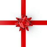Red Bow and Ribbon. Red gift bow and ribbon on white. Clipping path included for easy selection Royalty Free Stock Photo