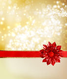 Red Bow and Ribbon with Golden Lights Royalty Free Stock Photos