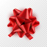 Red Bow ribbon isolated. Vector illustration for celebration birthday card. Festive red bow decoration for holiday gift.  Stock Photos