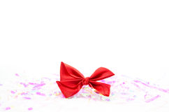 Red bow ribbon isolated on white Stock Photography