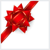 Red bow of ribbon Royalty Free Stock Images