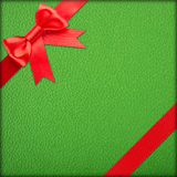Green gift with red bow Stock Photography