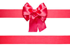 Red bow and ribbon from silk Stock Photos
