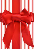 Red bow and ribbon striped background stock image